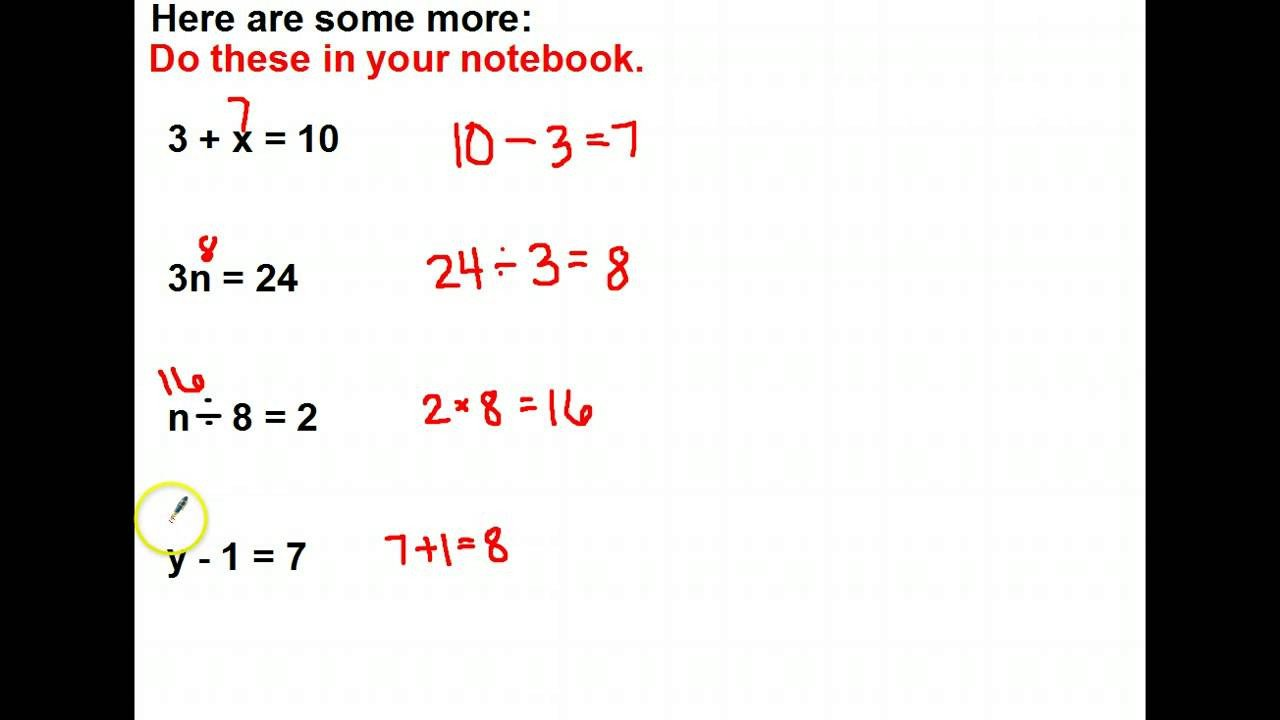 Missing Numbers In Equations Worksheets Mrsclarke S Missing Numbers In Equations