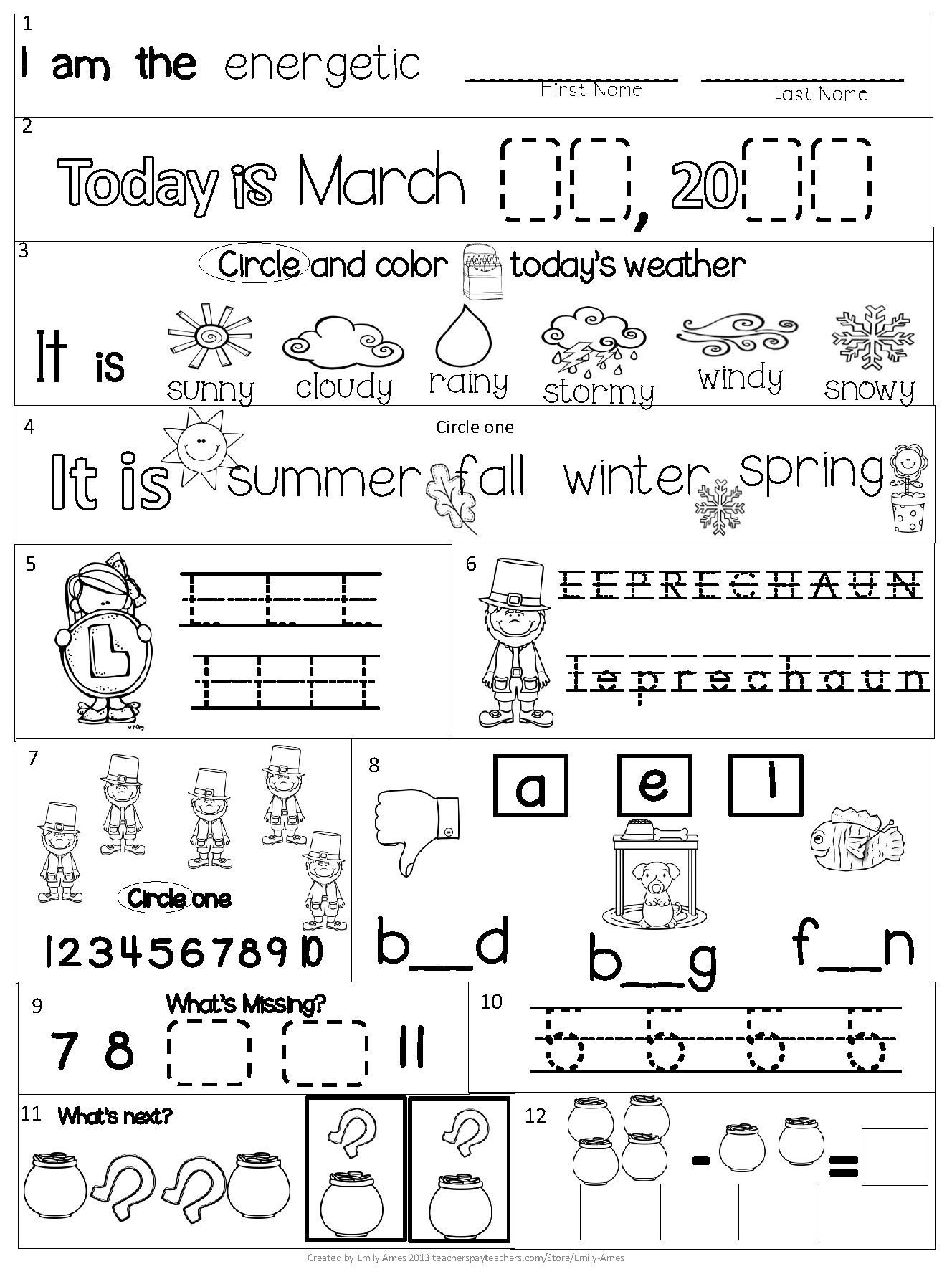Morning Worksheets for Kindergarten March Kindergarten Morning Work Mon Core