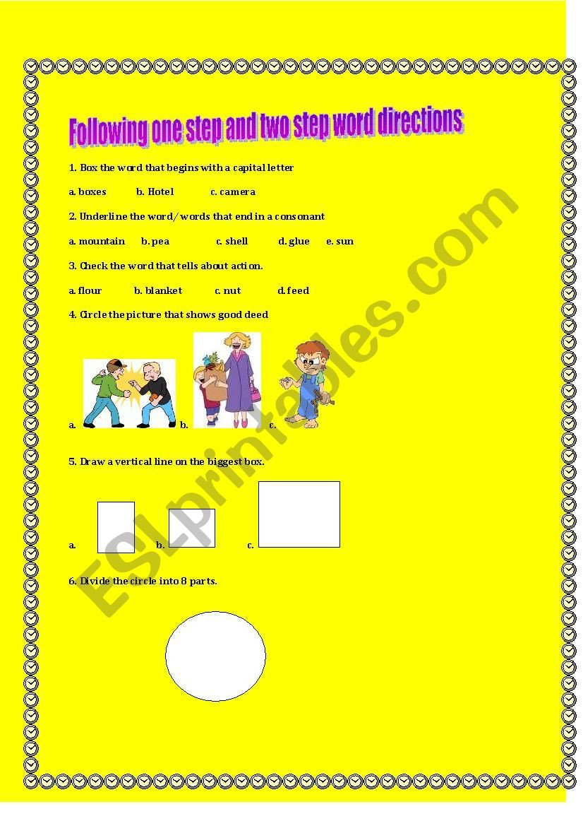 Multi Step Directions Worksheets Following One Step and Two Step Word Directions Esl