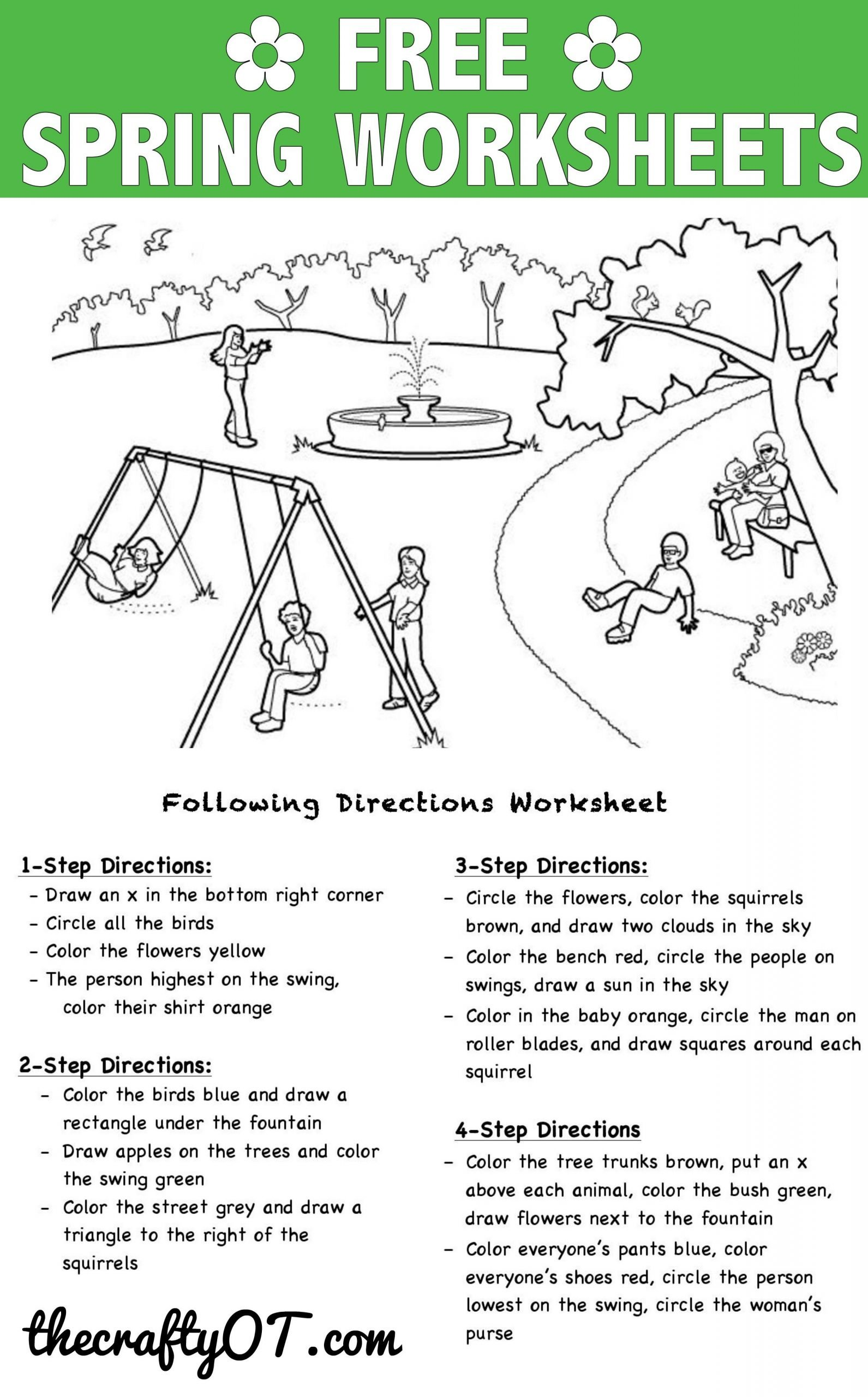 Multi Step Directions Worksheets Free Spring Worksheets
