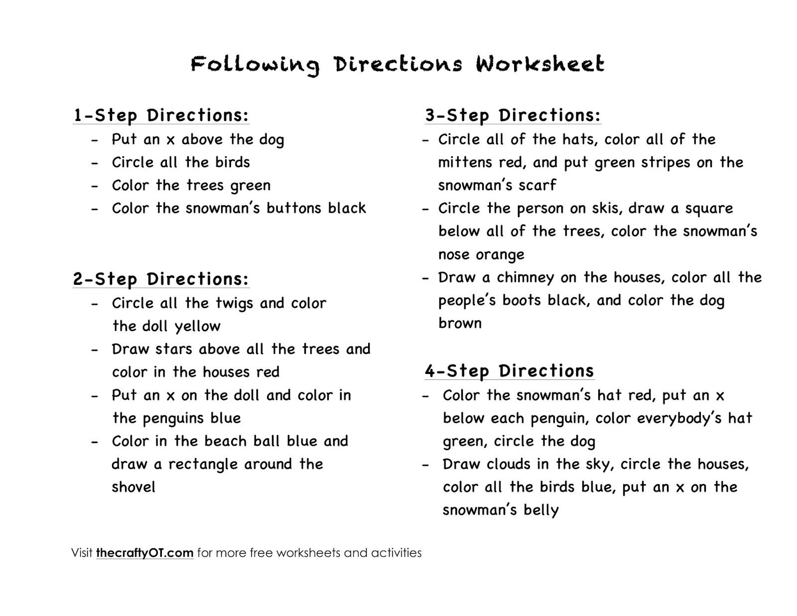 Multi Step Directions Worksheets the Crafty Ot Free Winter Worksheets