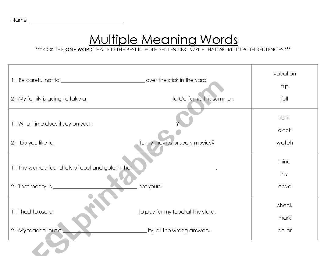 Multiple Meaning Words Worksheet English Worksheets Multiple Meaning Words 3
