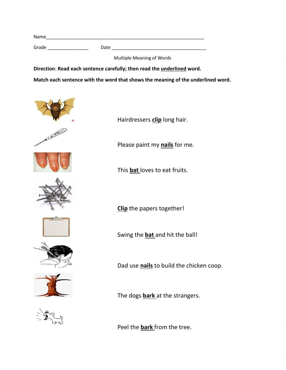 Multiple Meaning Words Worksheet Multiple Meaning Of Words Interactive Worksheet