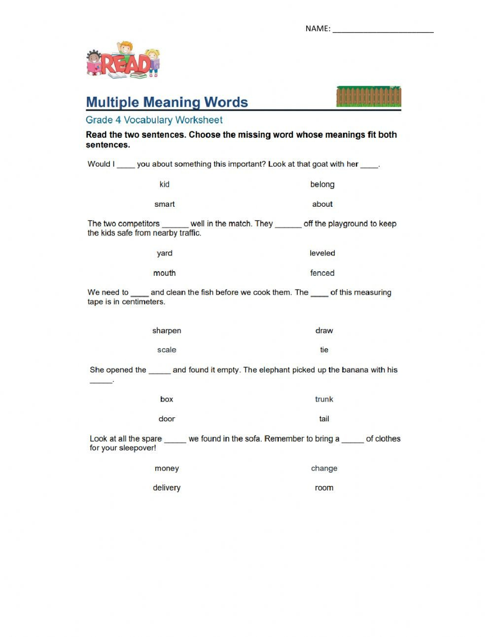 Multiple Meaning Words Worksheet Multiple Meaning Words Interactive Worksheet