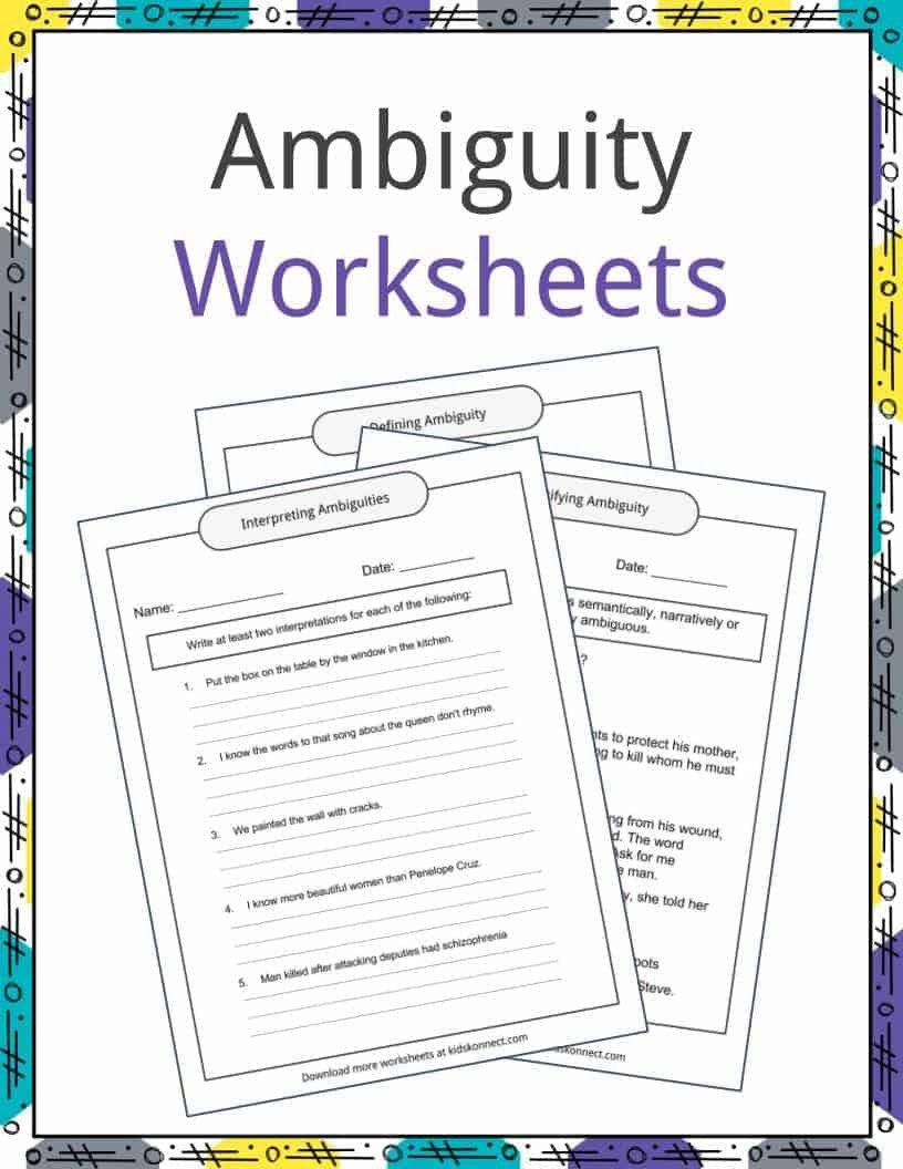 Multiple Meaning Worksheets Ambiguity Examples Definition and Worksheets