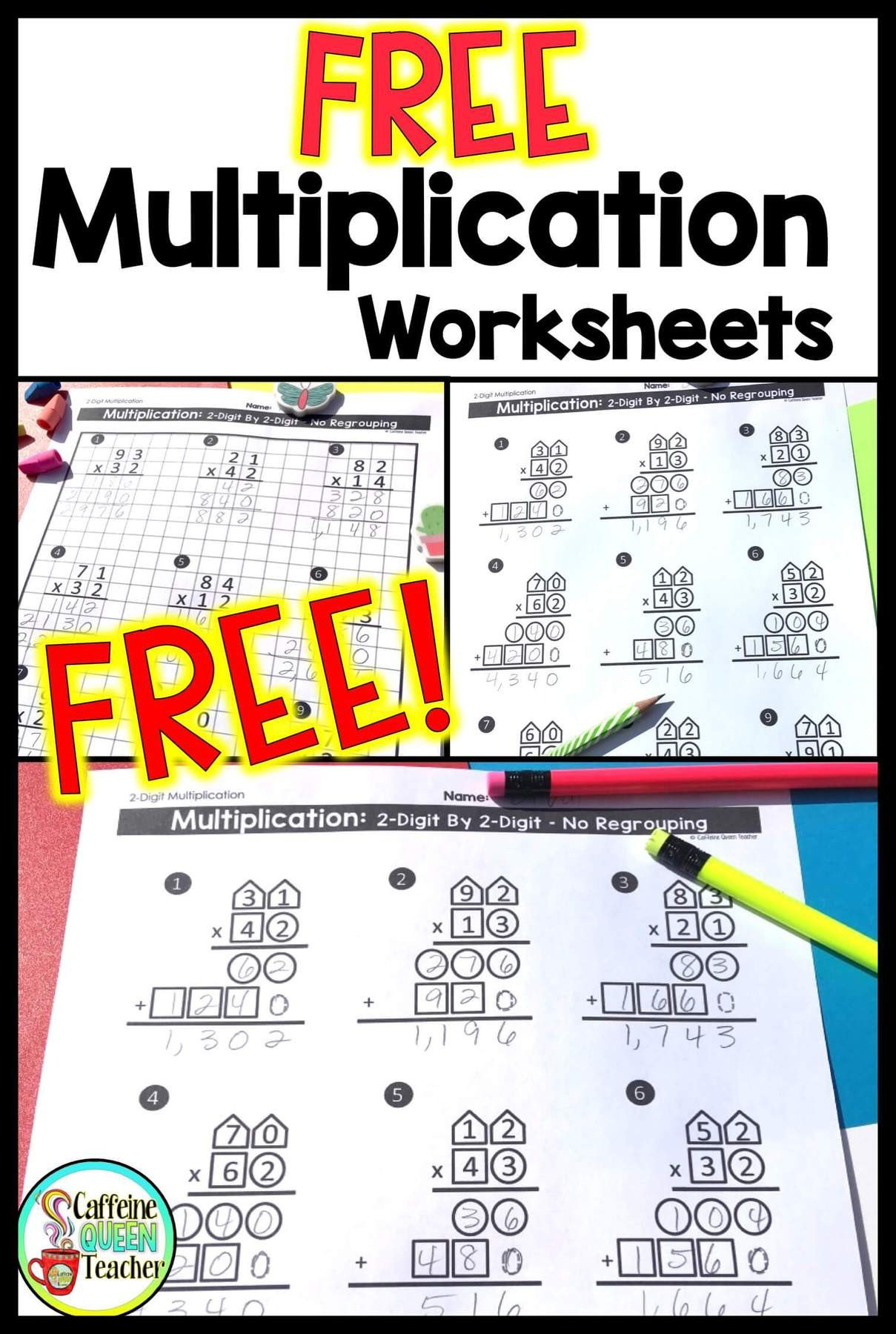 Multiplication Worksheets with Pictures 2 Digit Multiplication Worksheets Differentiated Caffeine