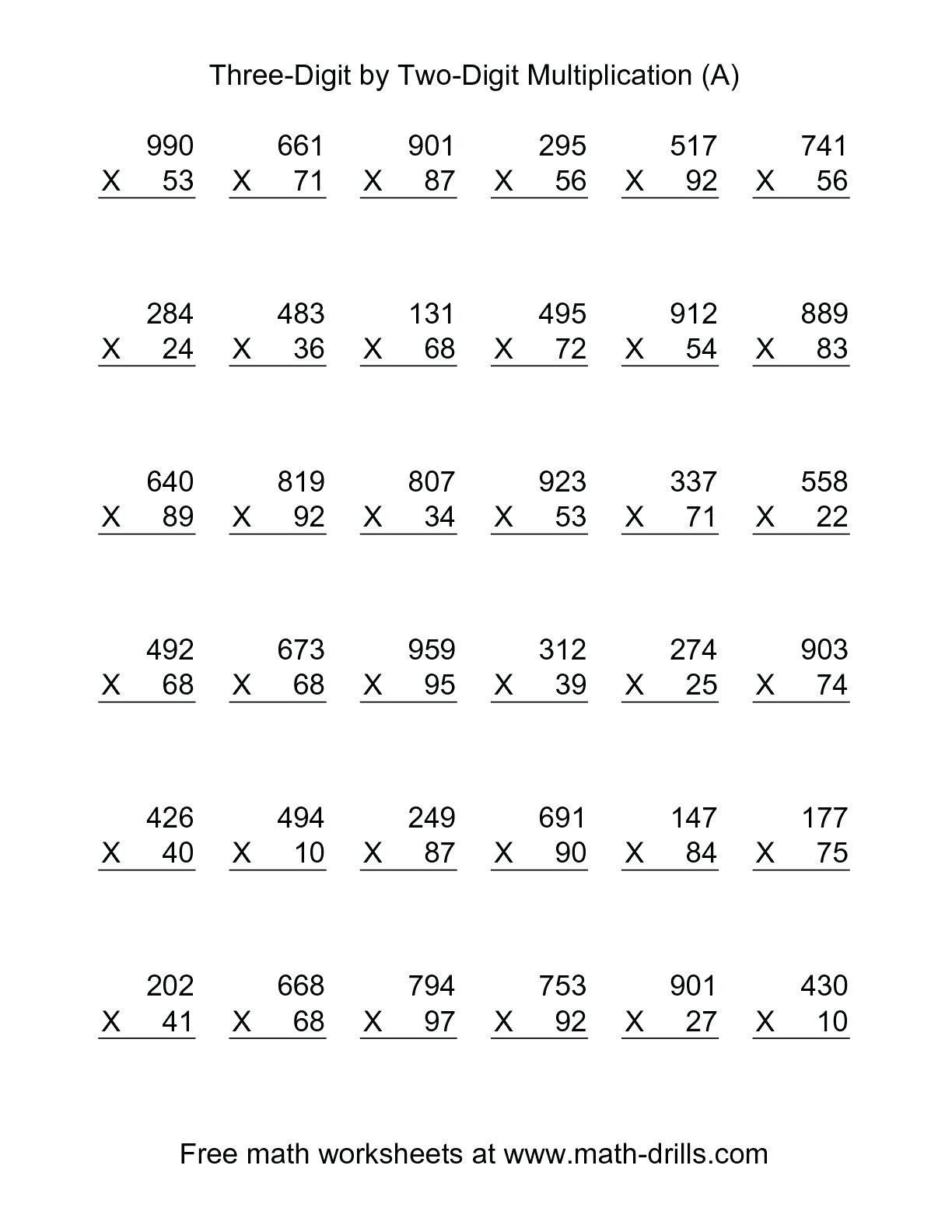 5th grade multiplication worksheets for printable