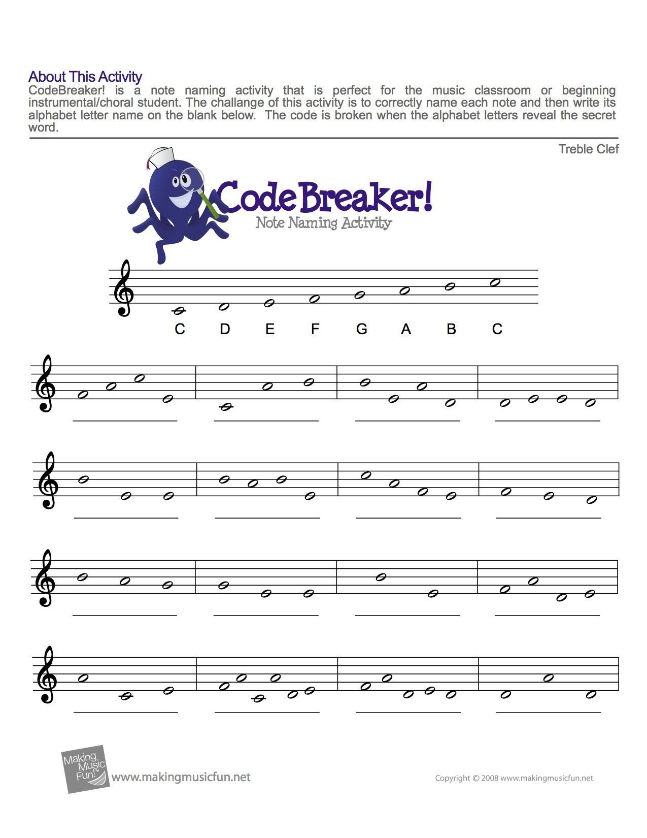 Music theory Worksheet for Kids Treble Clef Fun Note Reading