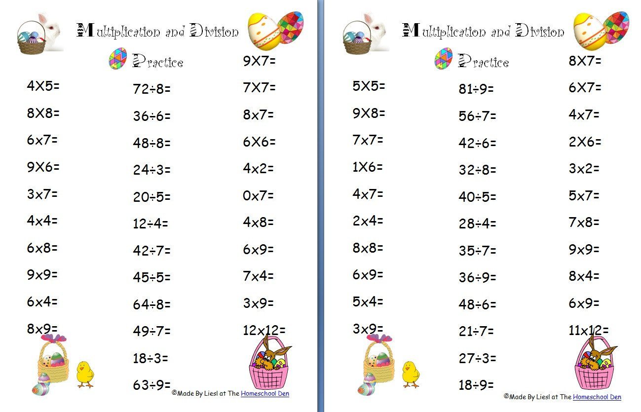 Native American Math Worksheets Free Easter Multiplication and Division Worksheets