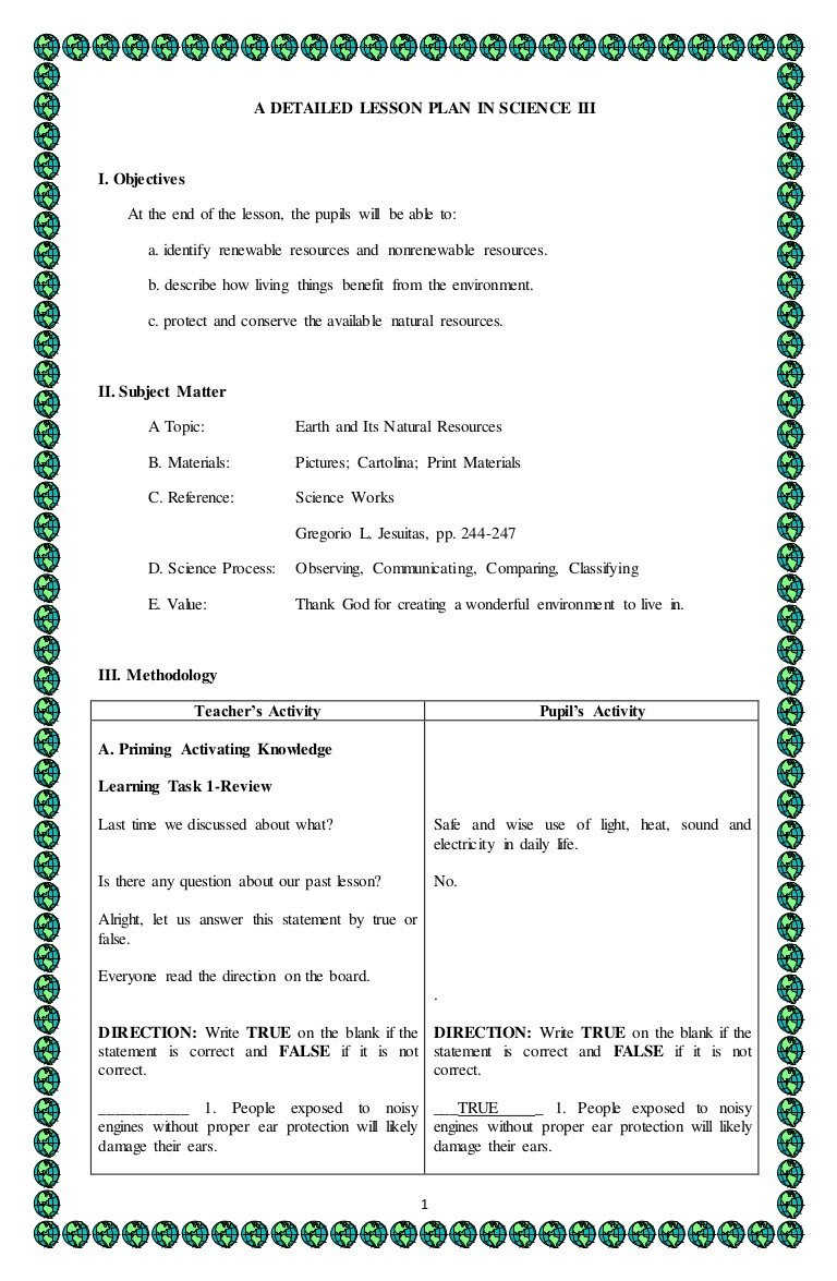 Natural Resources Worksheets Pdf 4a S Detailed Lesson Plan In Science 3