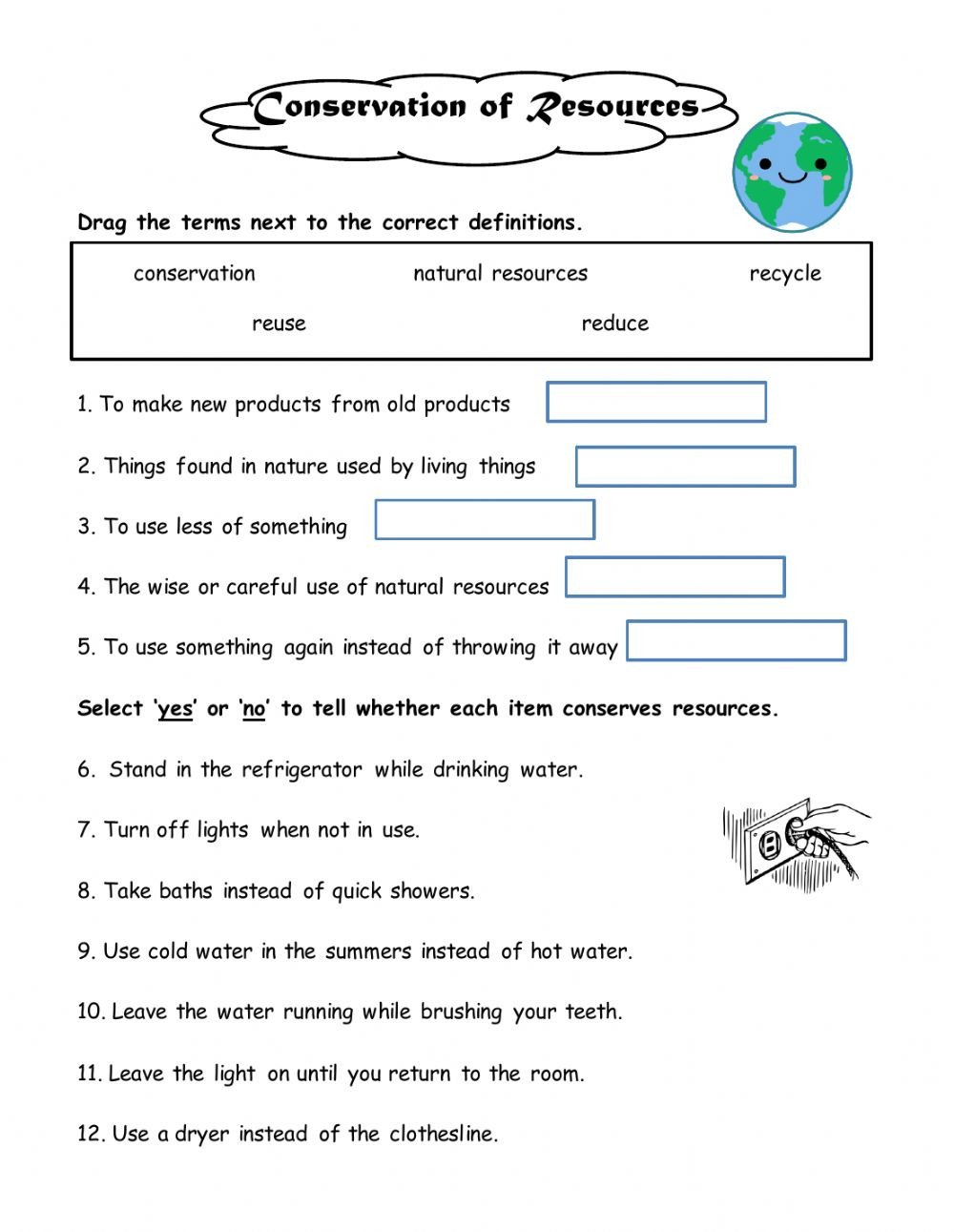 Natural Resources Worksheets Pdf Conserving Natural Resources Interactive Worksheet