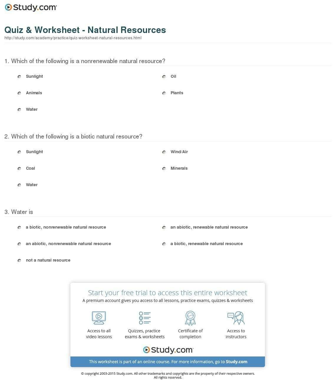 Natural Resources Worksheets Pdf Conserving Natural Resources Worksheet