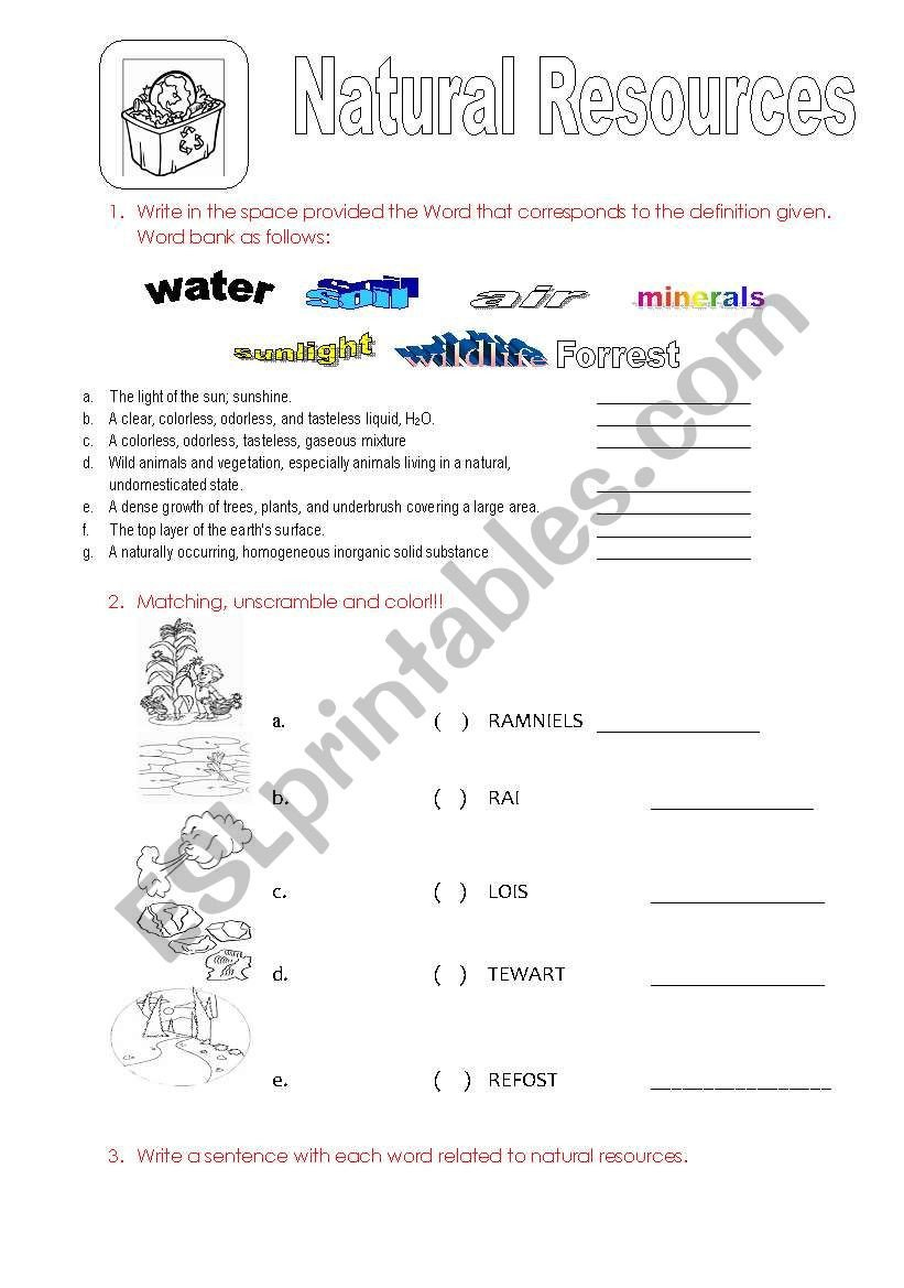 Natural Resources Worksheets Pdf Natural Resources for Kids Esl Worksheet by sonyta04