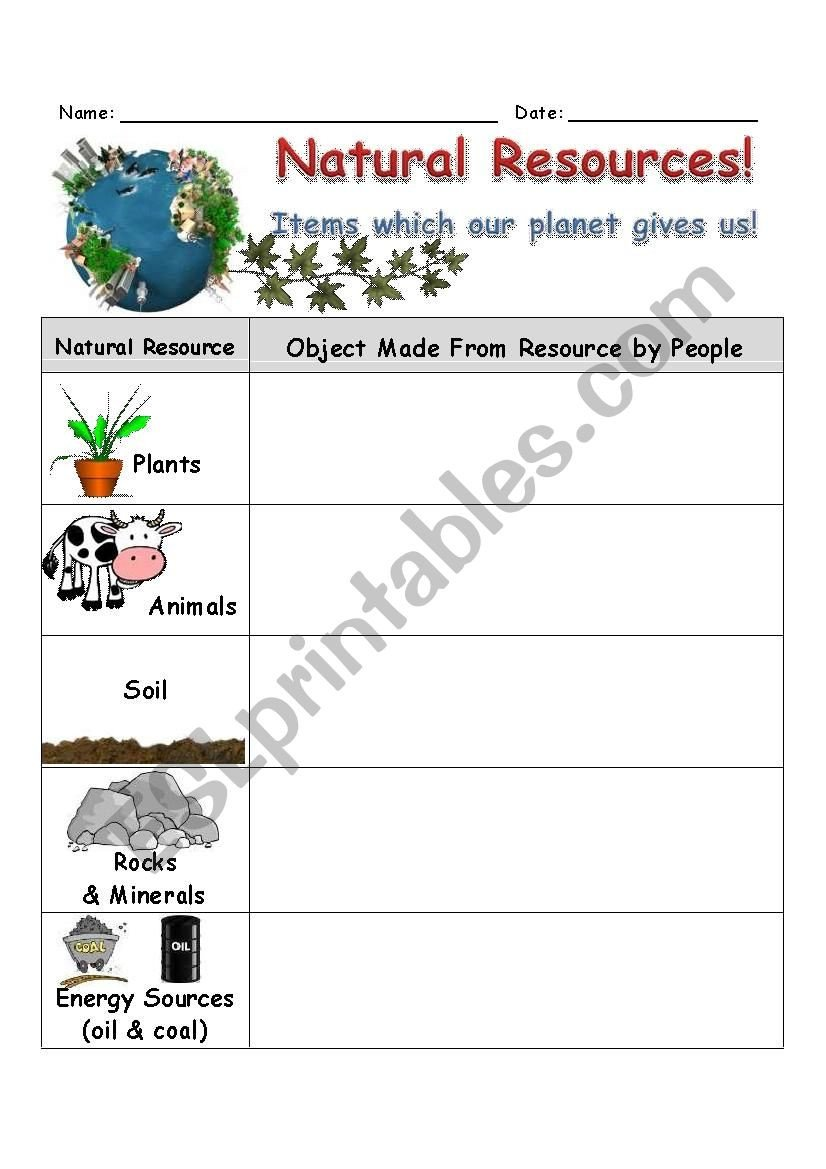 Natural Resources Worksheets Pdf Natural Resources Worksheet Esl Worksheet by Slvrwolf