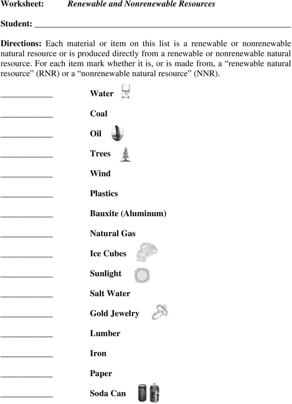 Natural Resources Worksheets Pdf Renewable and Nonrenewable Resources Pdf Free Download