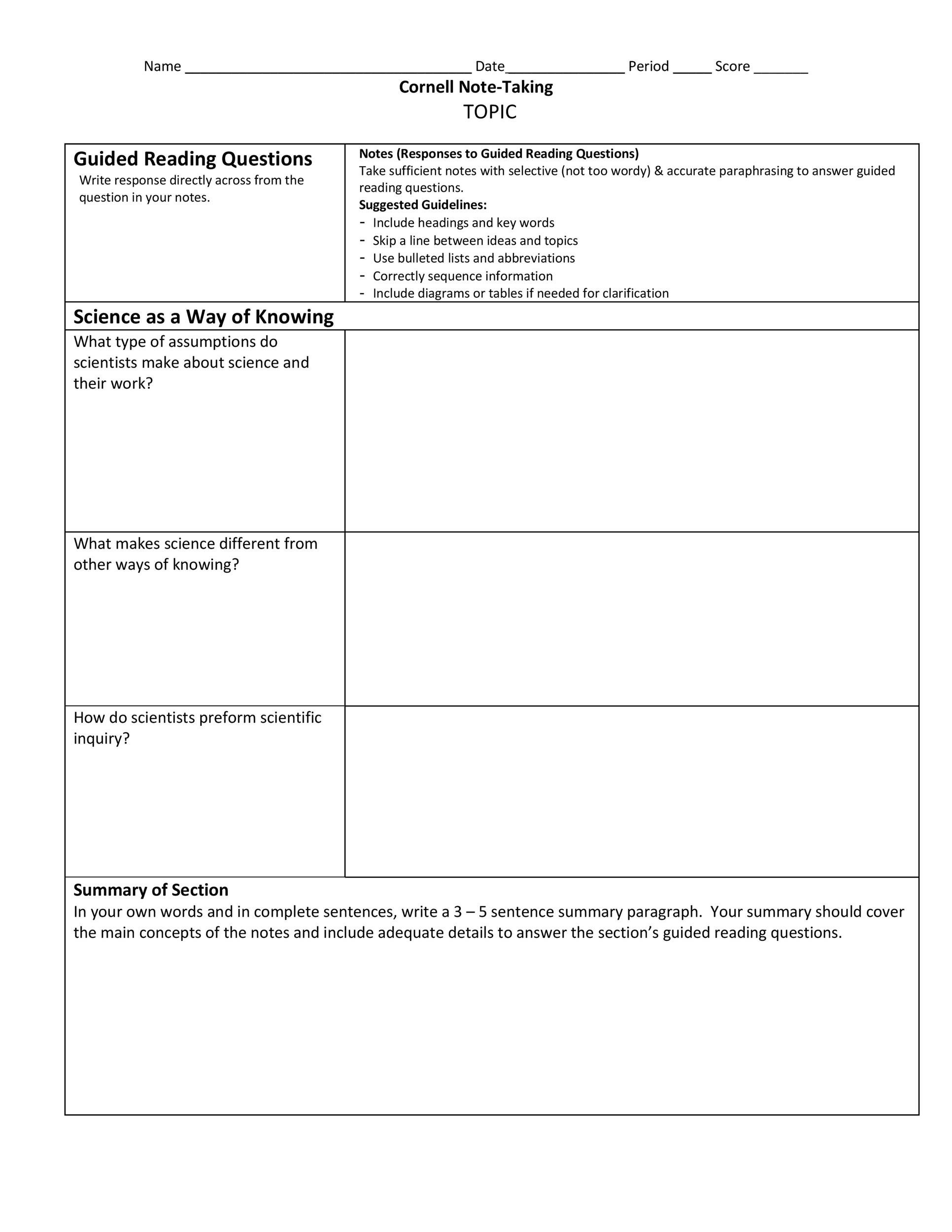 Cornell Notes Template 22