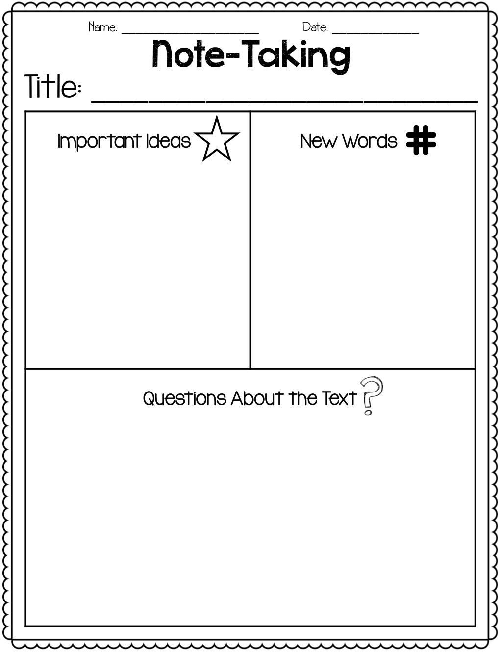 Note Taking Practice Worksheets Close Reading with Wonders