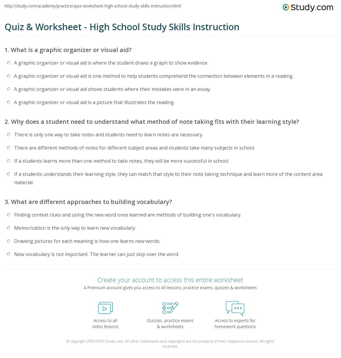 Note Taking Practice Worksheets Quiz & Worksheet High School Study Skills Instruction