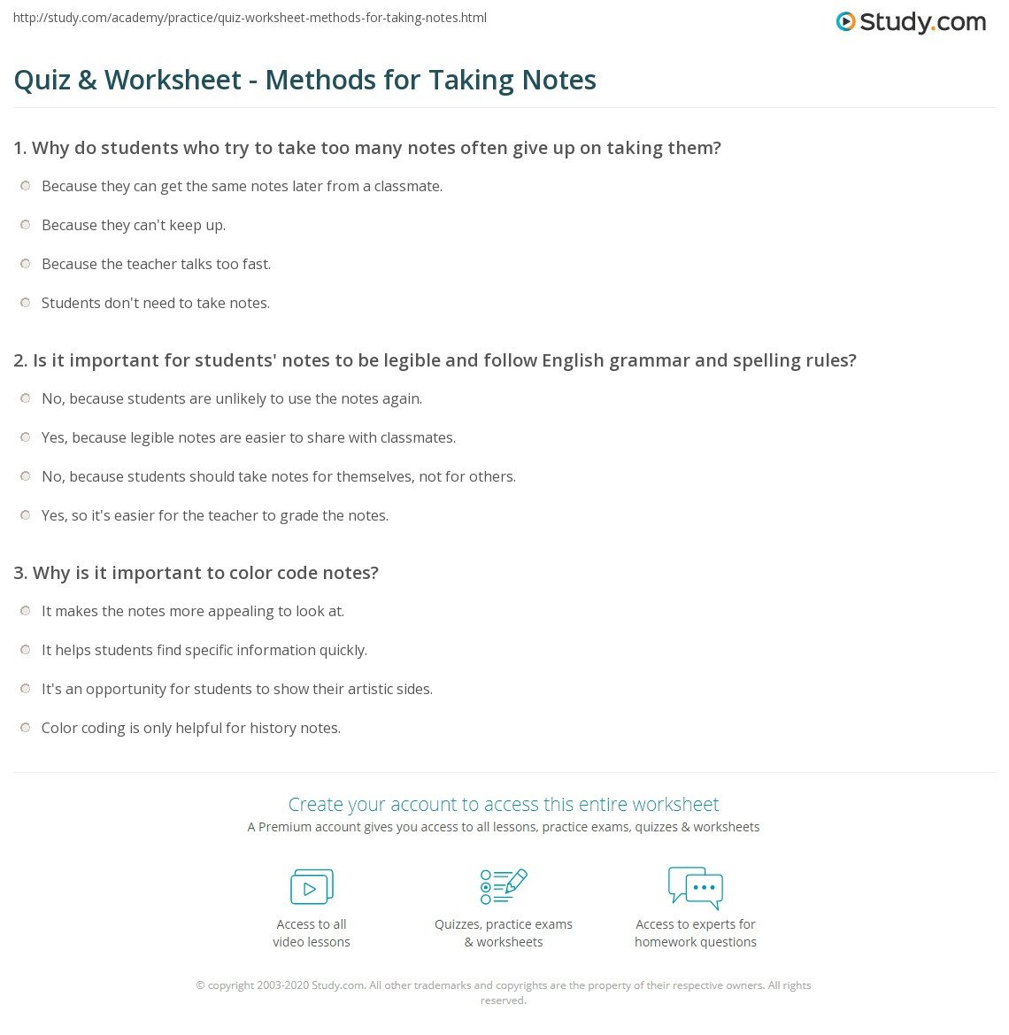 Note Taking Practice Worksheets Quiz & Worksheet Methods for Taking Notes