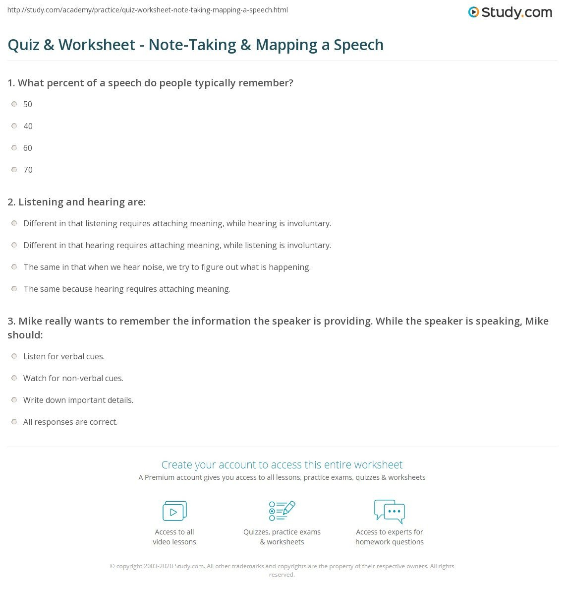Note Taking Practice Worksheets Quiz & Worksheet Note Taking & Mapping A Speech