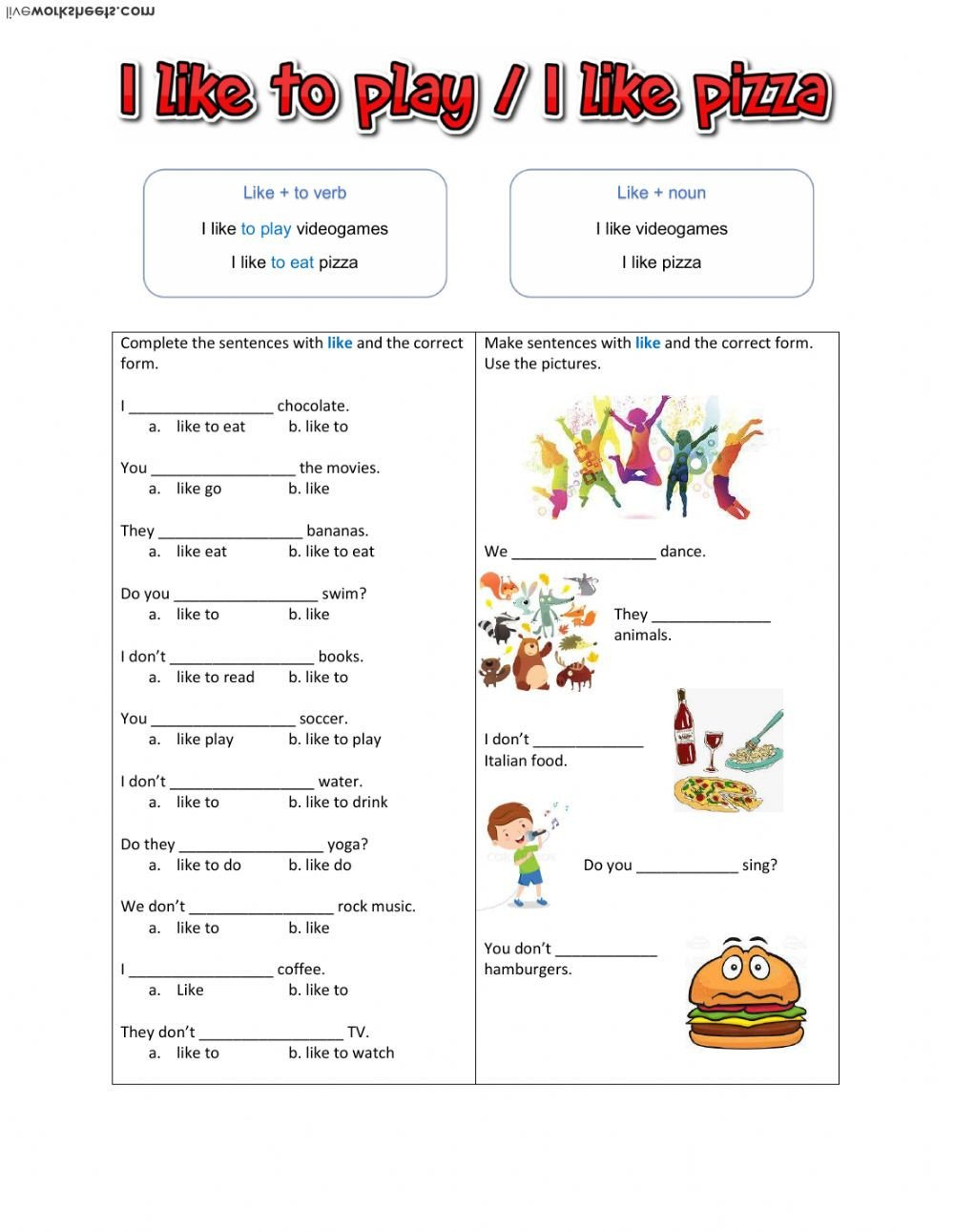 Noun and Verb Worksheets Like Noun Like Verb Interactive Worksheet