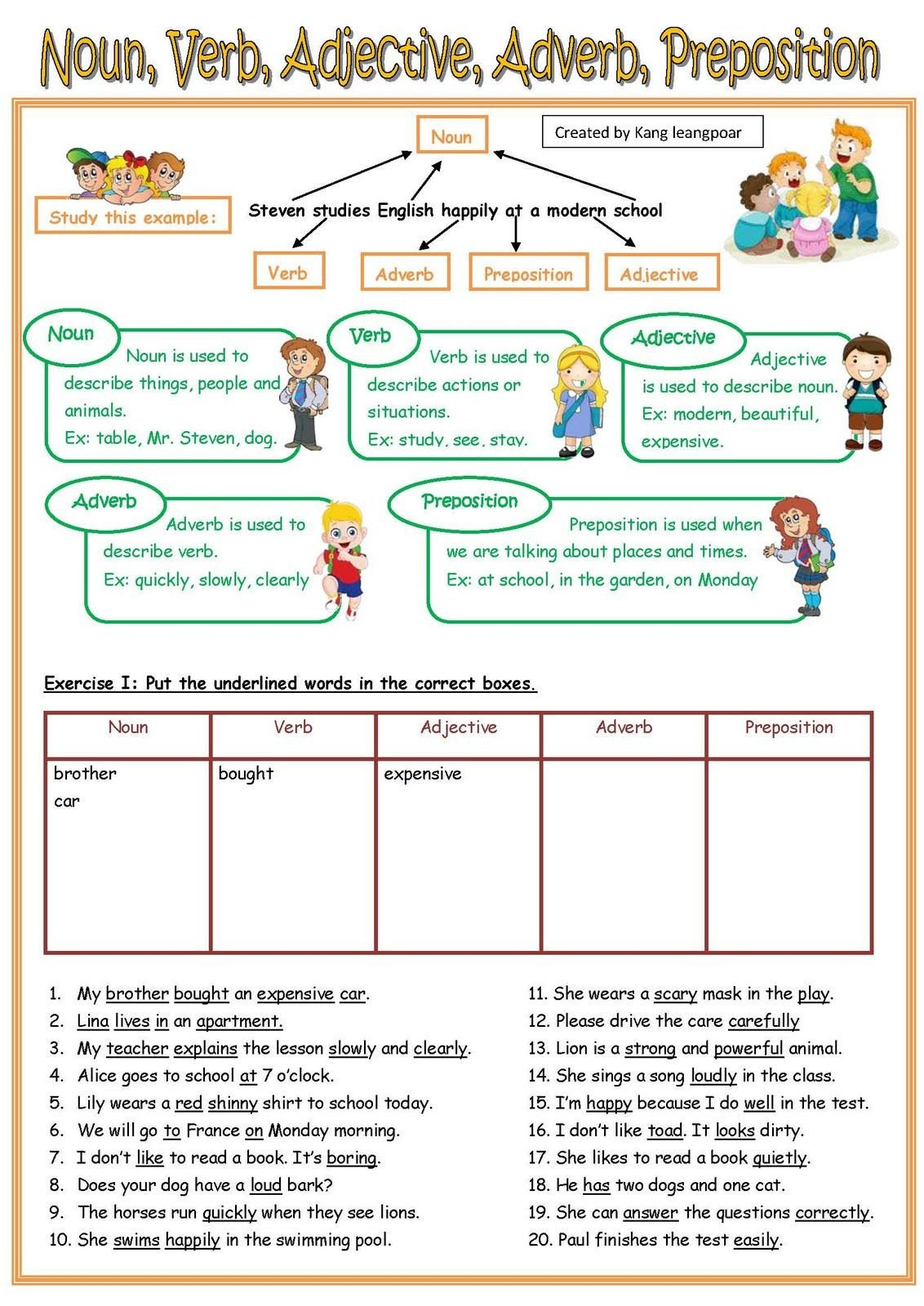 Noun and Verb Worksheets Noun Verb Adjective Adverb Pre Page 1 1132—1600