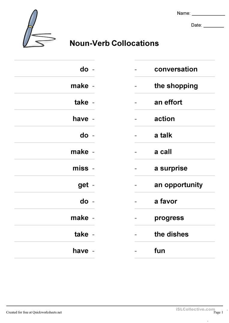 Noun and Verb Worksheets Noun Verb Collocations English Esl Worksheets for Distance