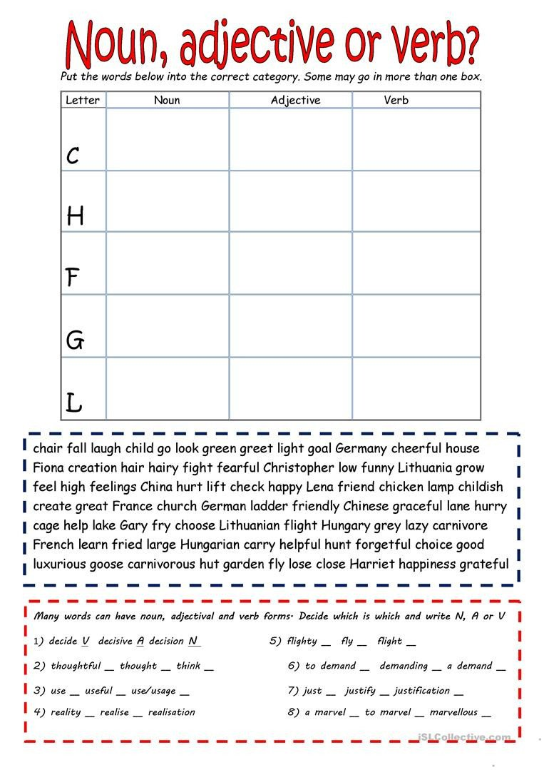 Noun and Verb Worksheets Noun Verb or Adjective English Esl Worksheets for