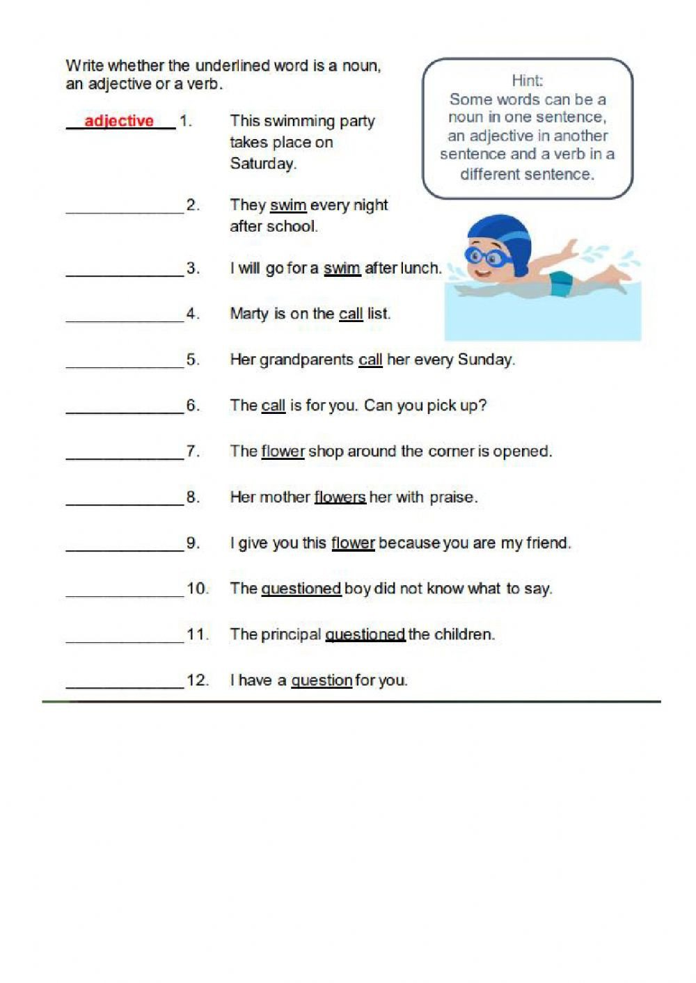 Noun and Verb Worksheets Noun Verb or Adjetive Interactive Worksheet