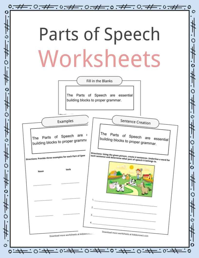 Noun and Verb Worksheets Parts Of Speech Worksheets Examples & Definition for Kids