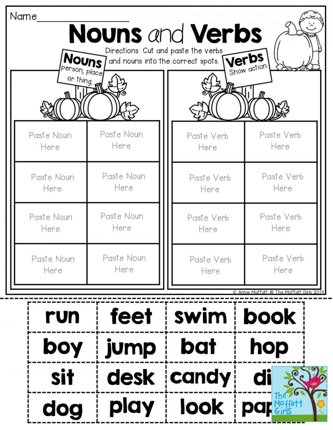 Noun and Verb Worksheets Pin On English