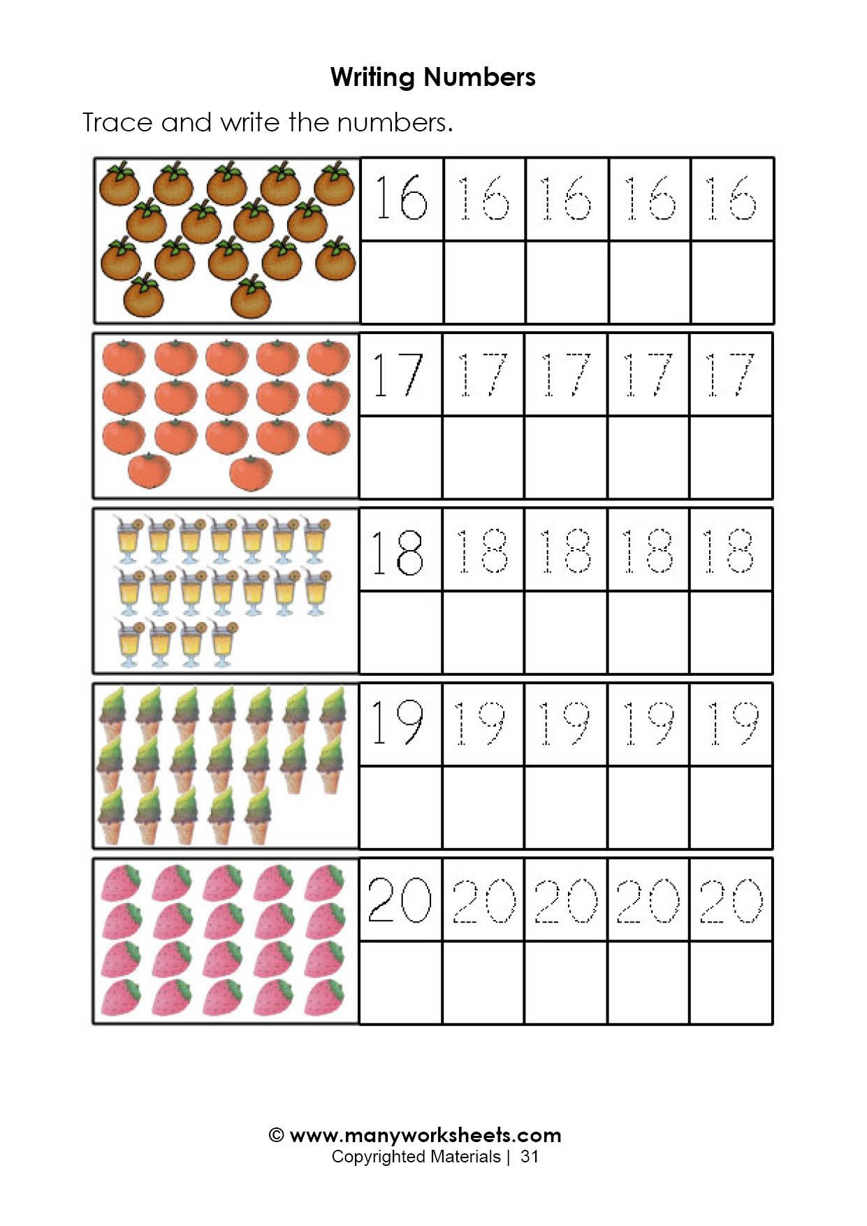 Number Recognition Worksheets 1 20 Tracing and Handwriting Numbers 16 20 Worksheet