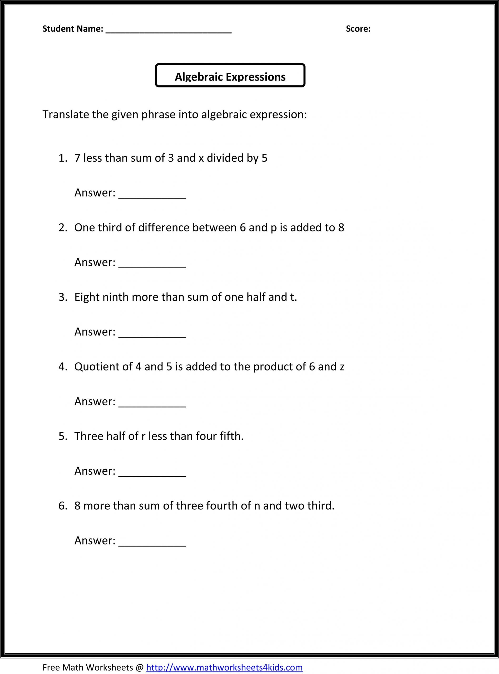 algebraic expressions worksheets 6th grade answers
