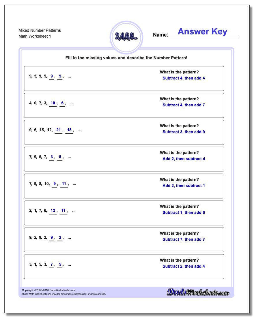 Numerical Expressions Worksheets 6th Grade Number Patterns