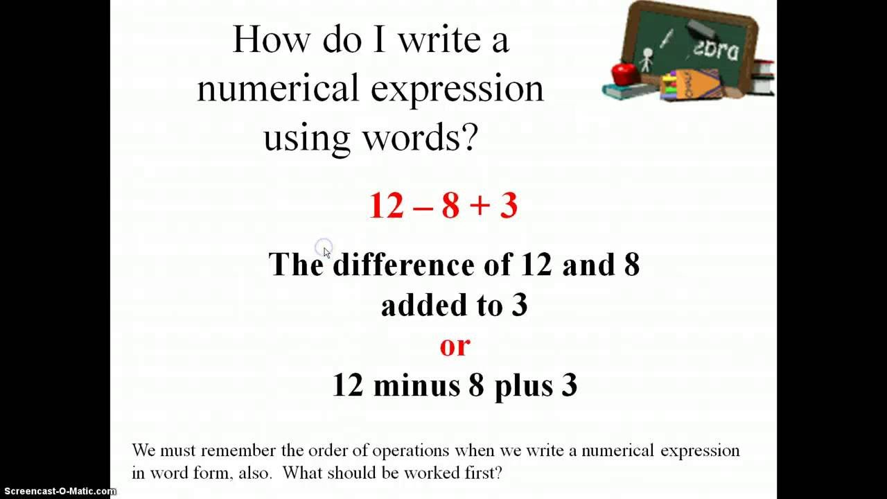 Numerical Expressions Worksheets 6th Grade Writing and Interpreting Numerical Expressions 5 Oa 2