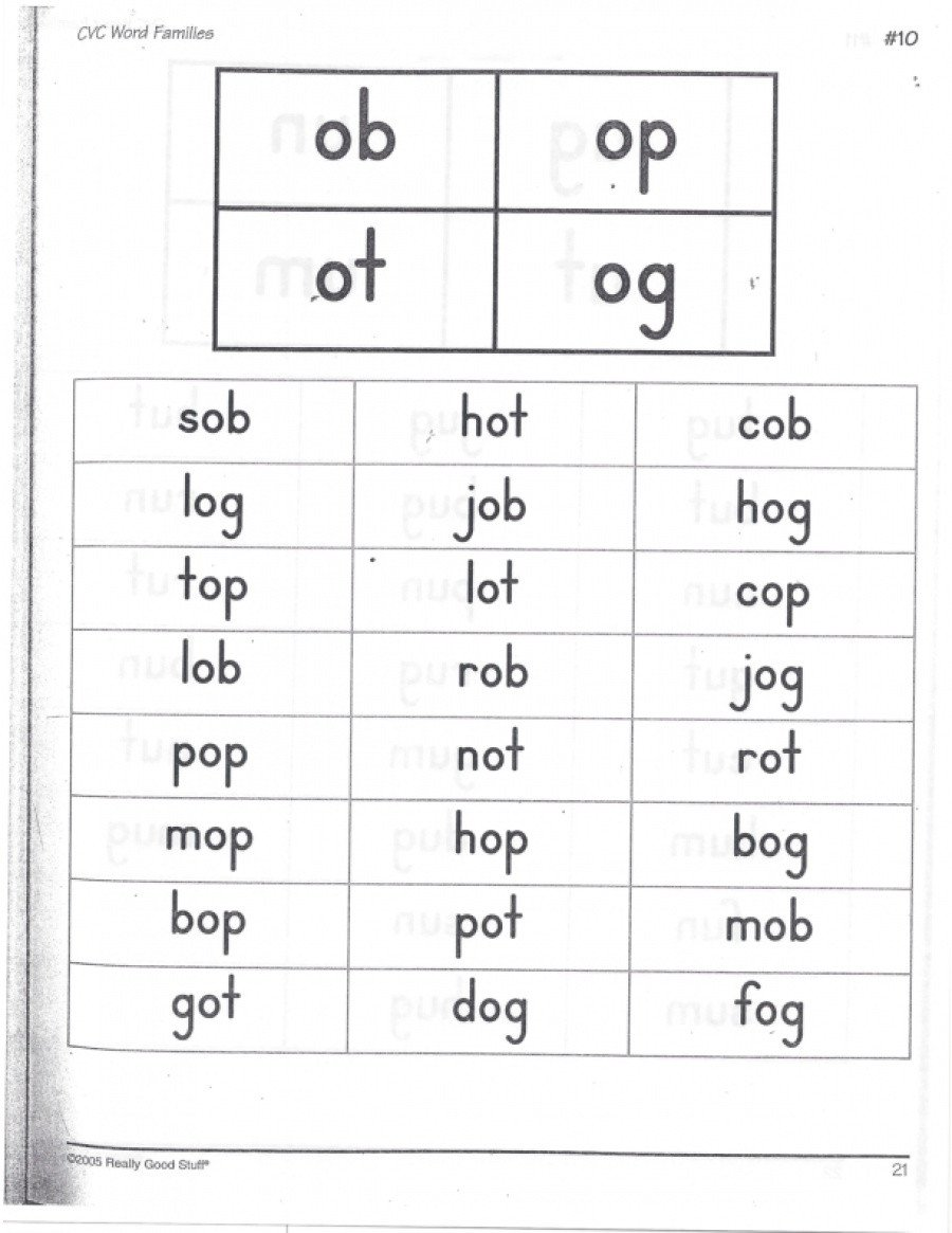 Op Word Family Worksheets Cvc Word Families Ob Op Ot Og