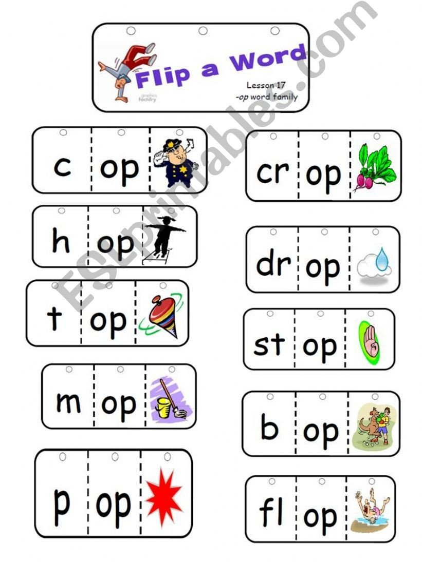 Op Word Family Worksheets Esl English Powerpoints Op Word Family