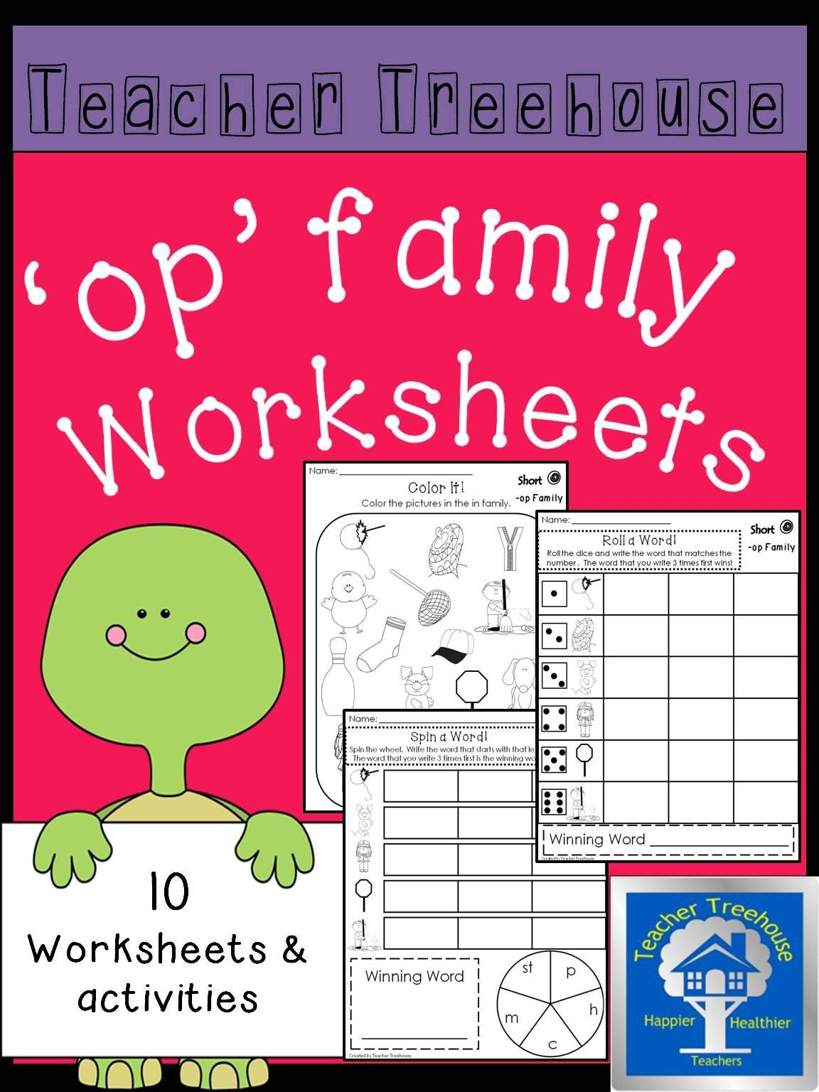 Op Word Family Worksheets Op Word Family Worksheets