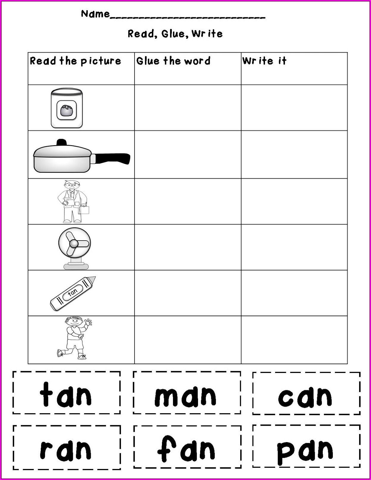 word family worksheets with pictures