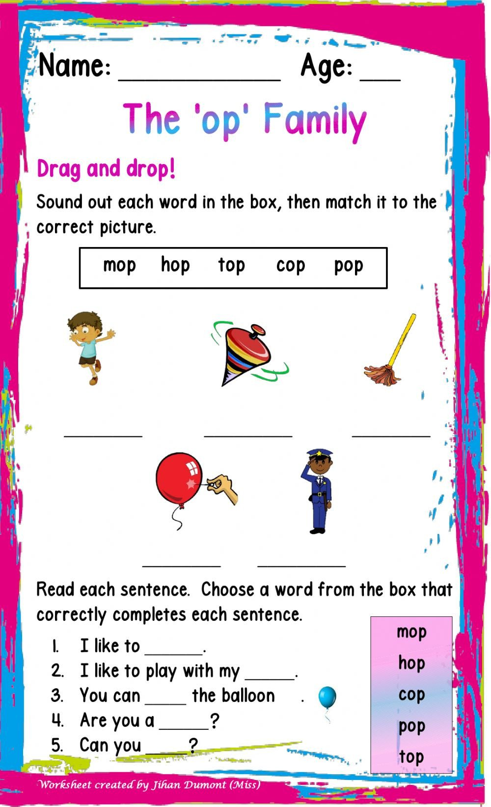 Op Word Family Worksheets the Op Family Interactive Worksheet
