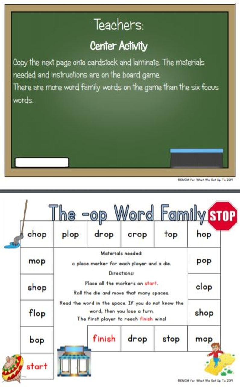 Op Word Family Worksheets the Op Word Family