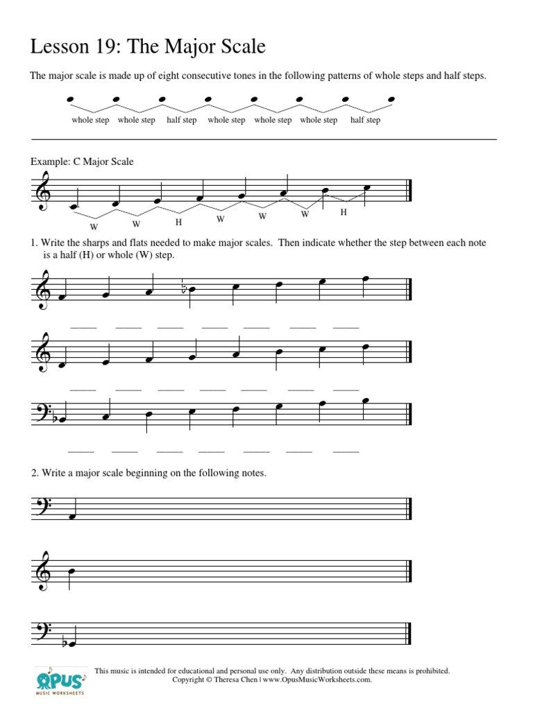 Opus Music Worksheets Answers Music theory Worksheet 19 Major Scale Scale Music