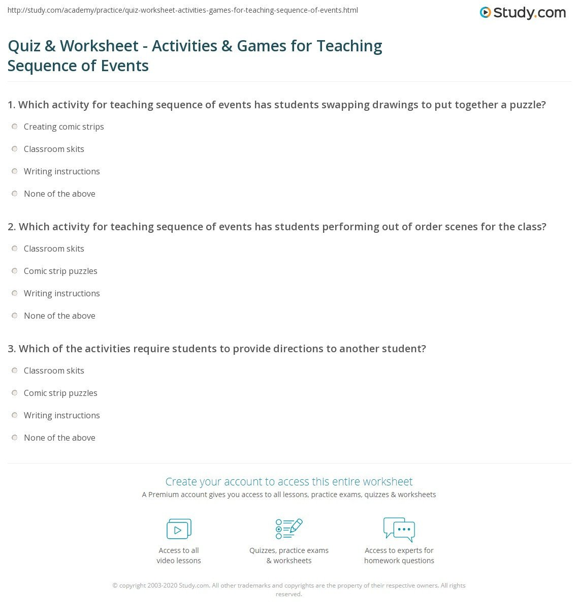 Order Of events Worksheets Spanish Sequence events Worksheets