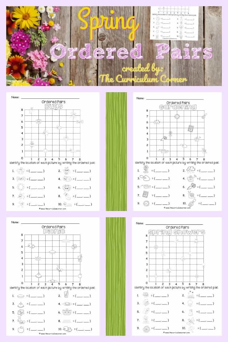 Ordered Pairs Picture Worksheets Free Spring ordered Pairs From the Curriculum Corner 2 the