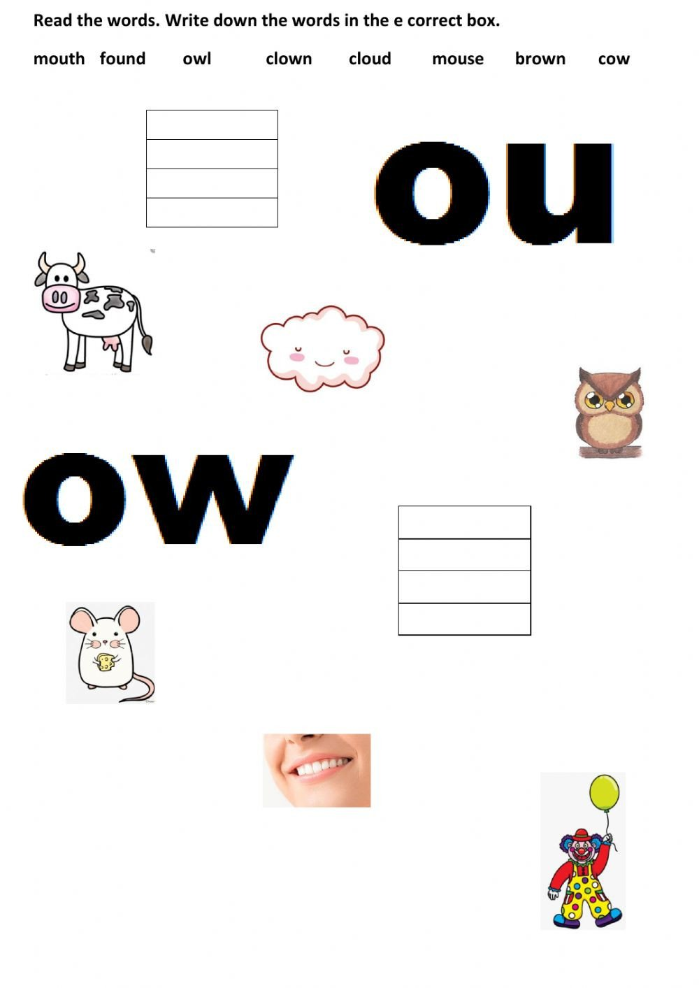 Ou Ow Worksheets Ou Ow Interactive Worksheet