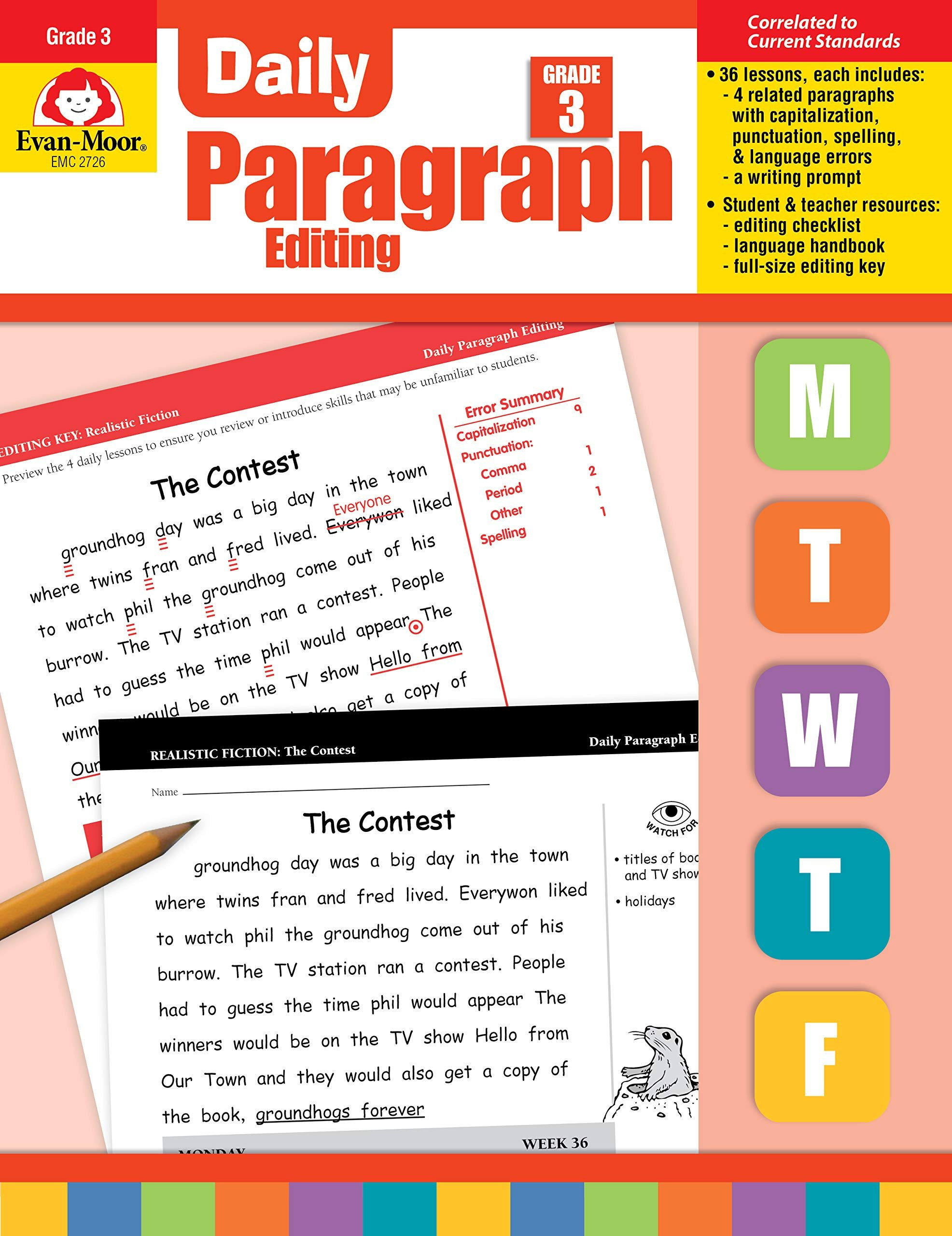 Paragraph Editing Worksheet Amazon Daily Paragraph Editing Grade 3