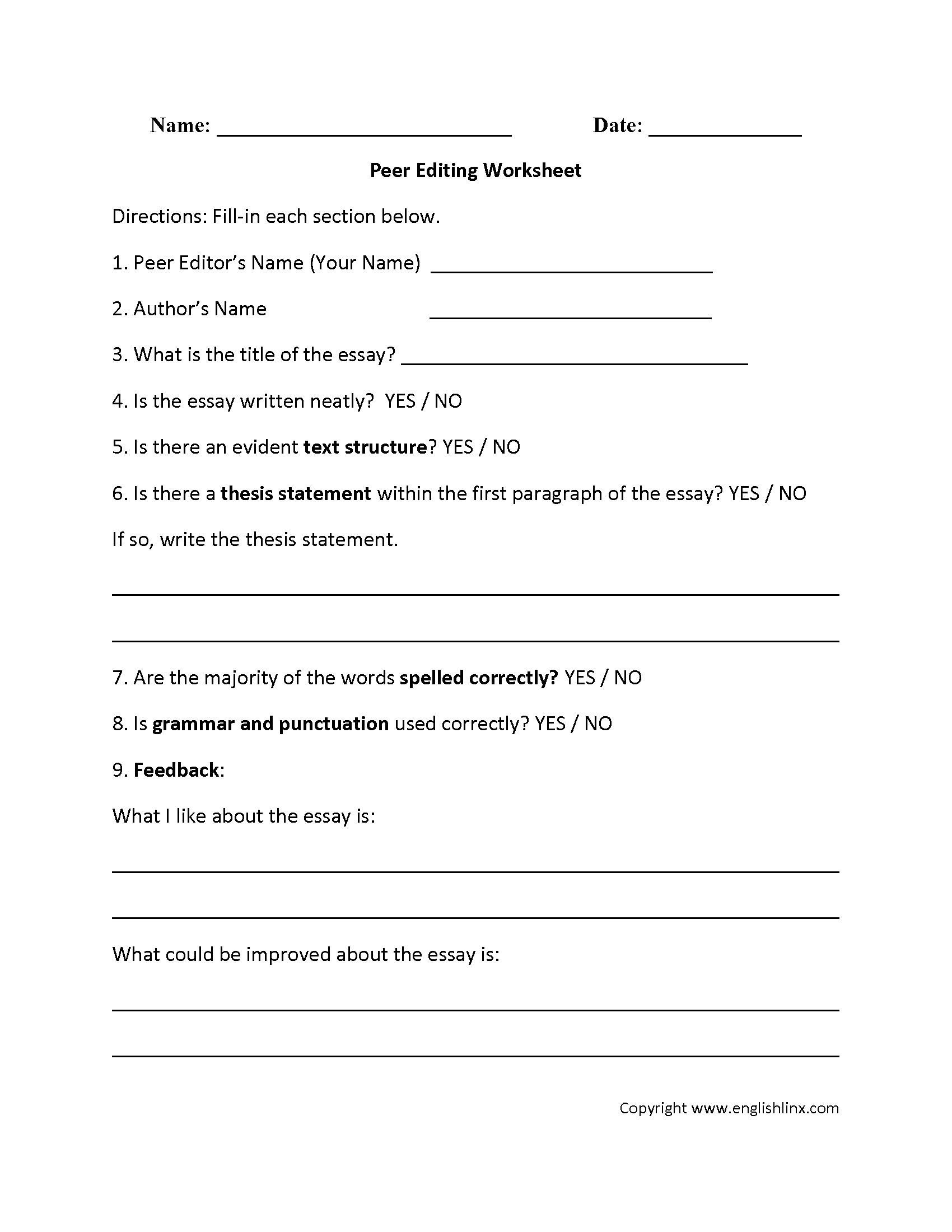 Paragraph Editing Worksheet Editing Worksheet Sentece