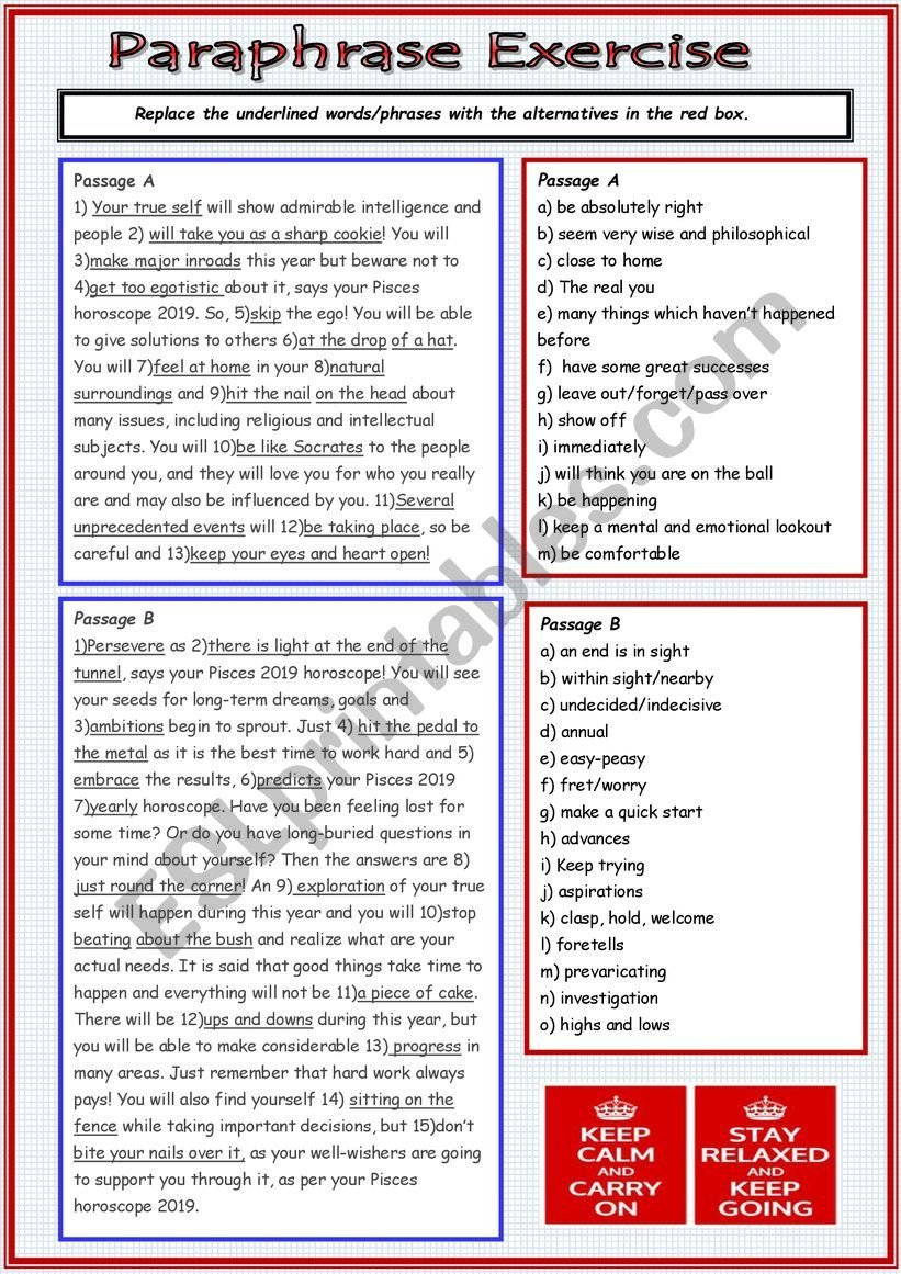 Paraphrasing Worksheets Elementary Paraphrase Activity Esl Worksheet by Cunliffe