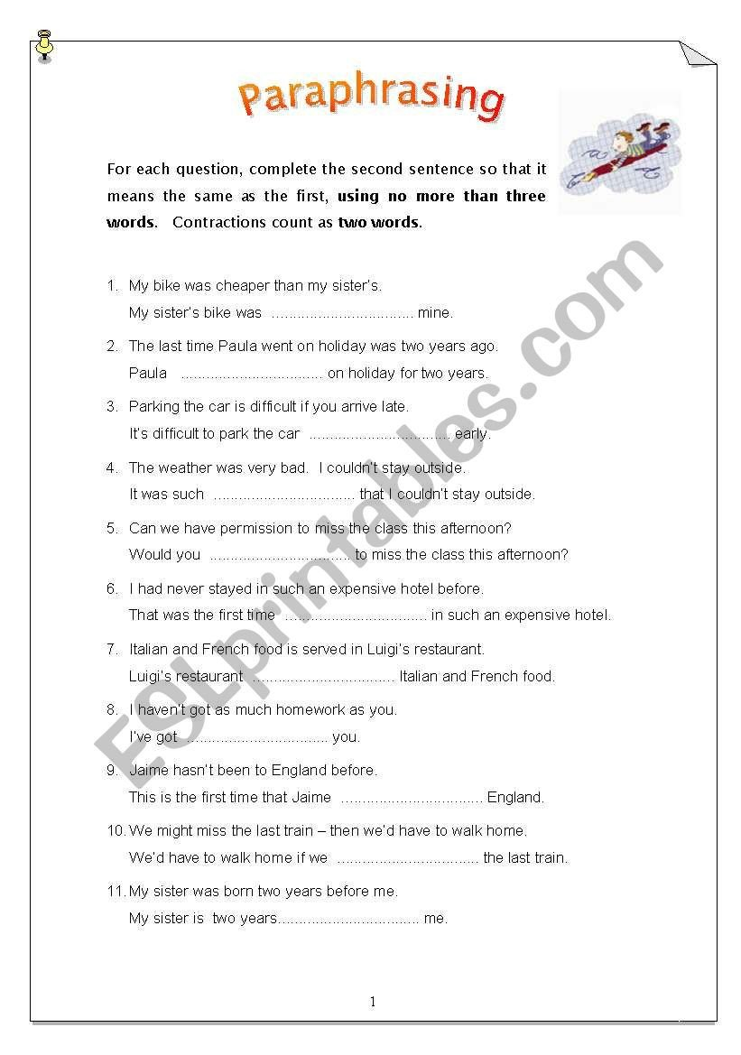 Paraphrasing Worksheets Elementary Paraphrasing 50 Sentences Esl Worksheet by Carinaluc