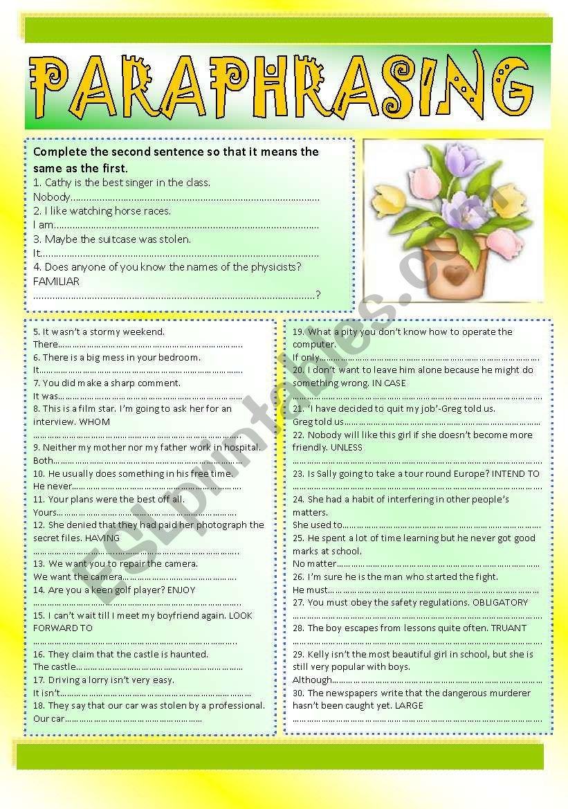 Paraphrasing Worksheets Elementary Paraphrasing Key Esl Worksheet by Ania Z